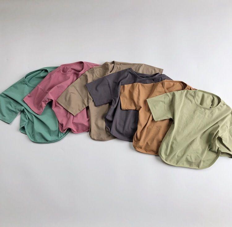 8 cores T-shirt 3573 Children Básico do Verão New 2.020 meninos e meninas de algodão simples Tops crianças confortável em torno do pescoço T-shirt Y200704
