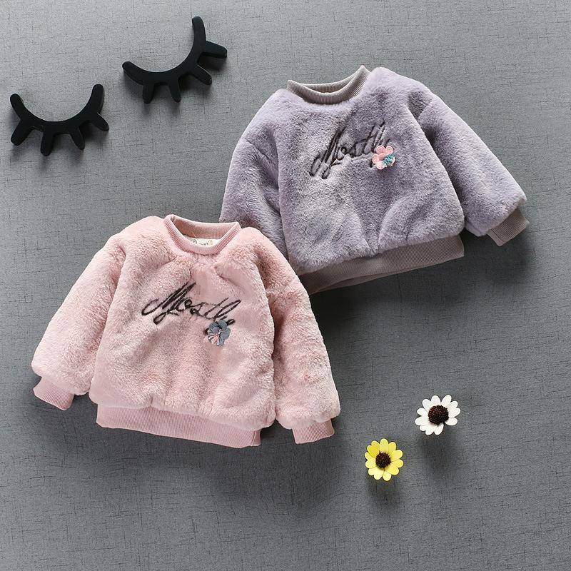 Roupas de Bebê Meninas Casacos Coreano Inverno Grosso Camisola de Manga Comprida Carta T-shirt para Crianças Roupas Roupas Infantis