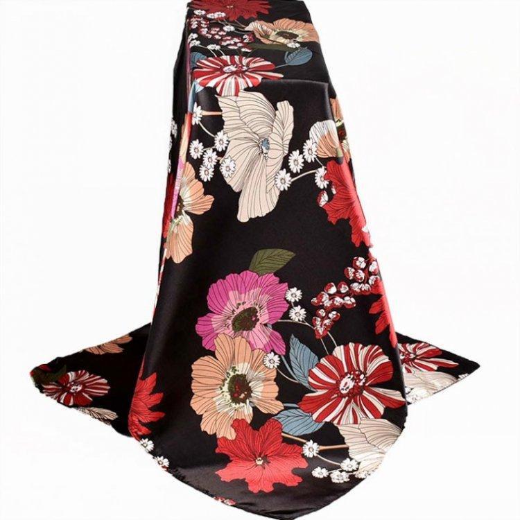 Новый 90 * 90 красивые цветы квадратный шарф оптом женская мода дешевые полосатые шелковые шарфы DHL бесплатная доставка