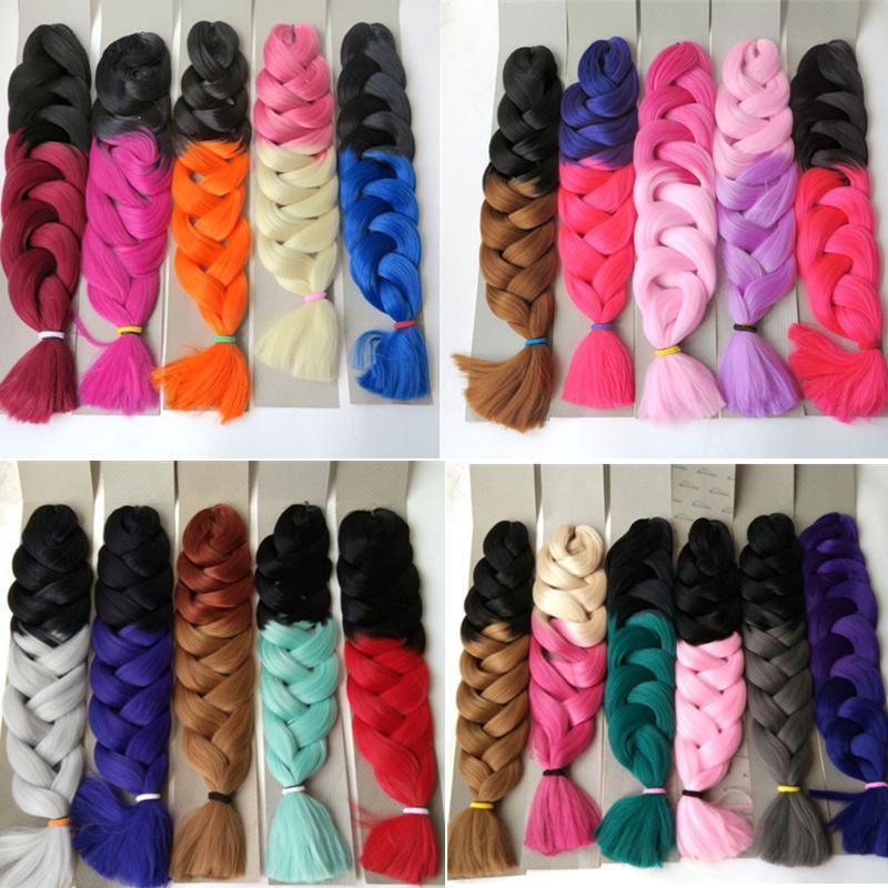 sintético Xpression trenzado 165g pelo Doblado de 32 pulgadas Ombre color de tono dos Kanekalon jumbo Crochet trenza extensiones de pelo de la torcedura