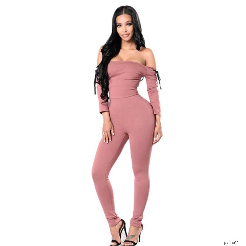 les femmes sexy concepteur off-the-épaule sangle jumpsuitH