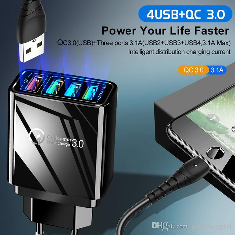4usb зарядное устройство QC3. 0 телефон быстрое зарядное устройство US / EU / UK Plug QM Quick Charge 5V 2.4 A для IOS Samsung Huawei