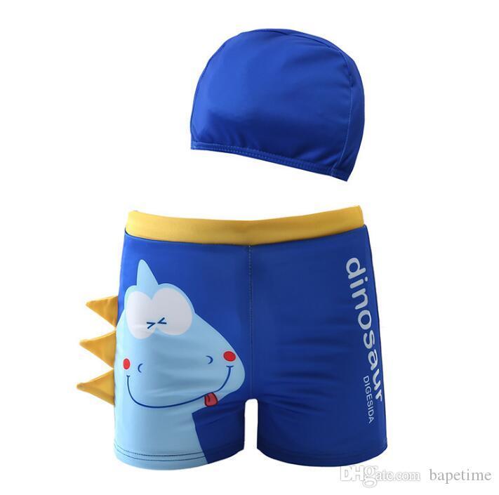 Meninos Boxer Swimwear Dos Desenhos Animados Imprimir Crocodilo Swimwear Padrão de Dinossauro das Crianças Calças de Natação com Touca de Natação Duas Peças