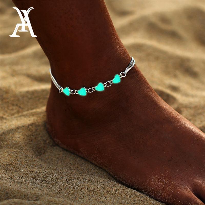 بوهيميا مضيئة قلادة القلب الخلخال للنساء سوار جميلة على مجوهرات الساق عاشق خلخال أزياء أنثى القدم حزب هدية