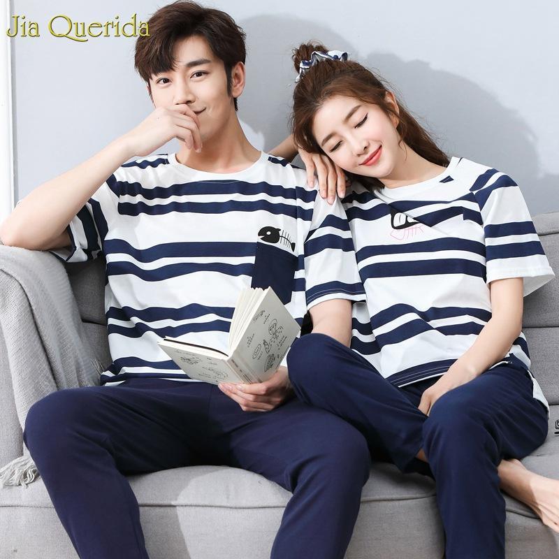 Homens de pijama Algodão Listrado Mangas Curtas Calças Compridas 2019 Primavera Outono Homewear Casal Combinando Peixe e Gato Bonito Sleepwears Set