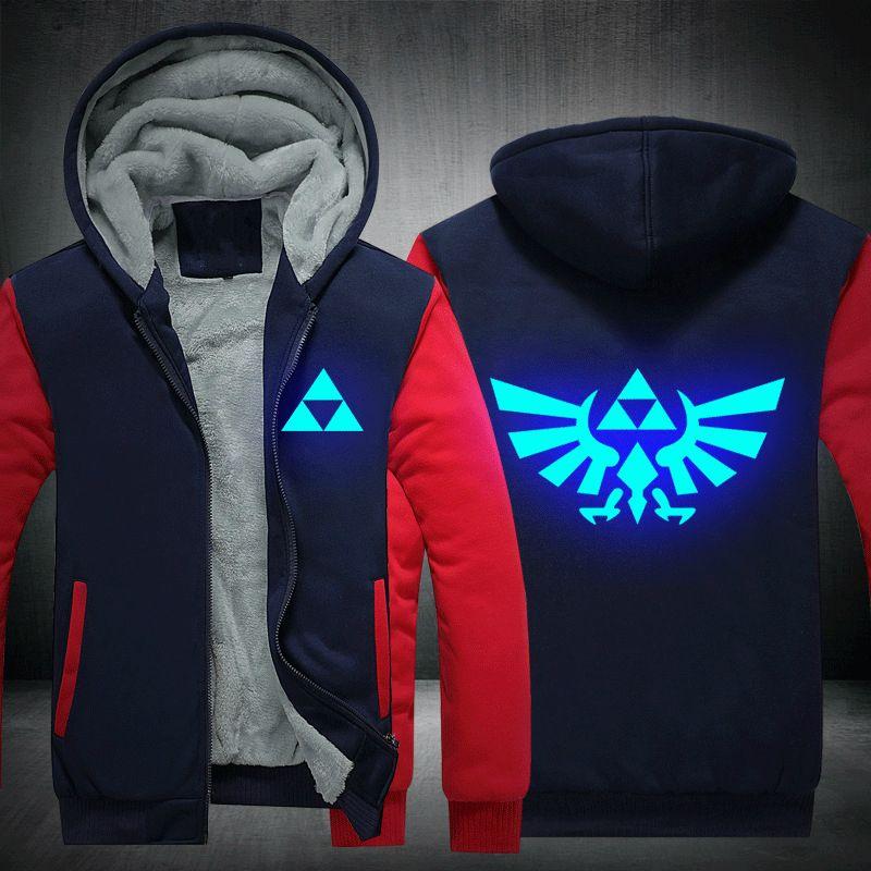 El resplandor luminoso de Legend of Zelda Breath of the Wild en sudaderas oscuras hip hop Rapper juego chaqueta con capucha sudaderas chándal