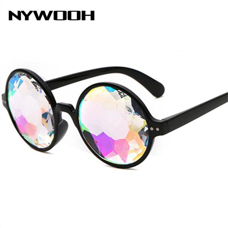 NYWOOH Kadınlar Trend Marka Tasarımcı Holografik Güneş Gözlükleri Erkek Rave Festivali Cosplay Gözlükler Yuvarlak Eyewea