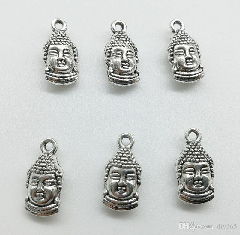 50 unids / lote dos caras cabeza de buda de aleación de encanto colgante joyería retro diy llavero colgante de plata de tíbet para la pulsera pendientes 15 * 7 mm