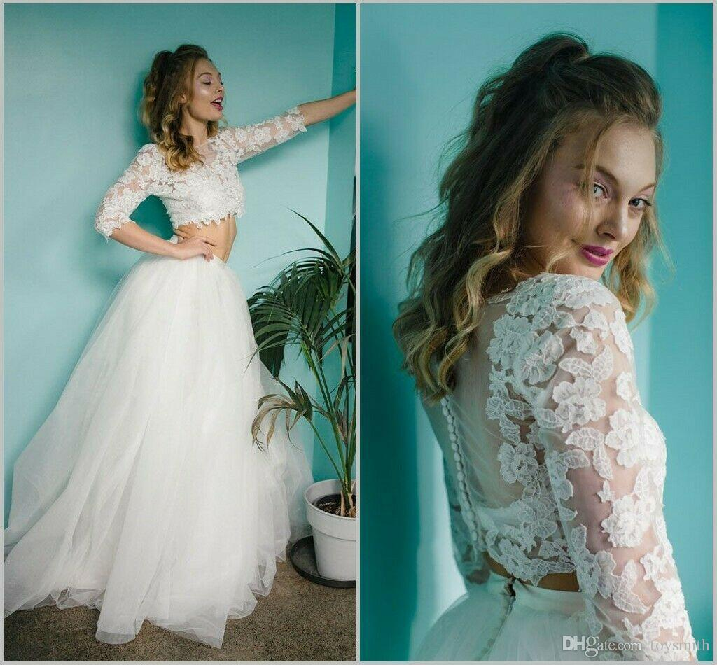 2019 Spring Wedding Gowns A Line Lace Bohemian 2 Piece Fashion Zipper Long Sleeve Custom Made Appliques Beach Bridal Gowns Dreses