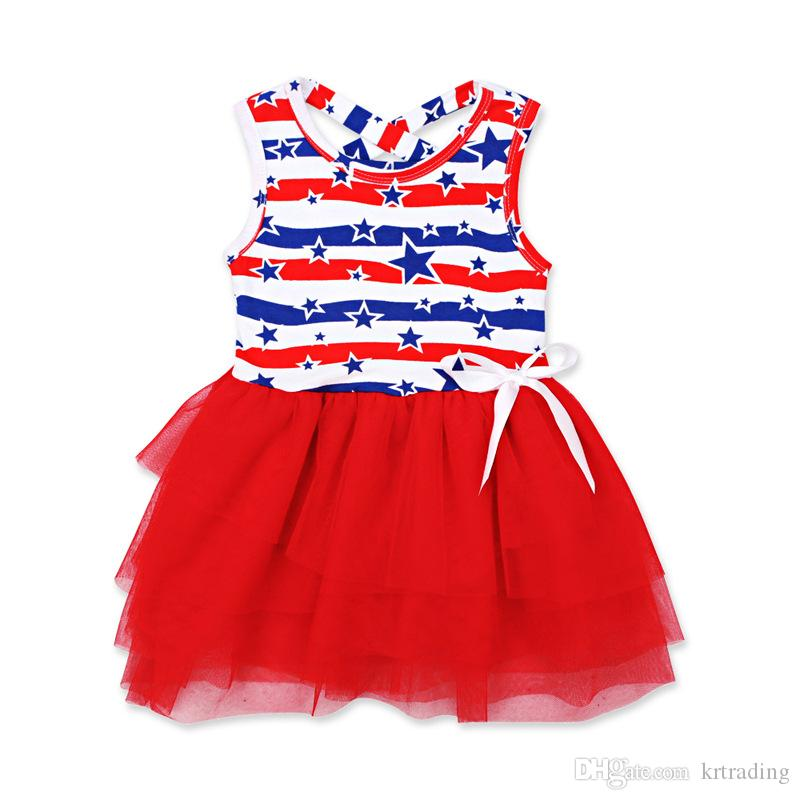 Infants Girls Independence Day dresses Baby The Stars and Stripes pattern skirt ribbon bowknot lace dress fashion toddlers July 4th clothing