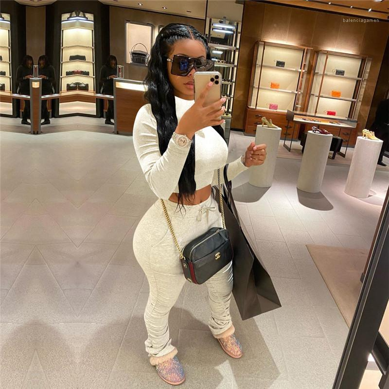 Color High Neck Long Sleeve 2pcs Women Sets Casual Skinny Ladies Sports Suits Reset 2020 Womens Stacked Tracksuits Solid
