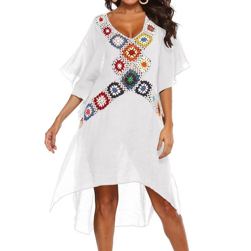 V-Hand Hook Stitching Beach Blouse Irregular Split Dress