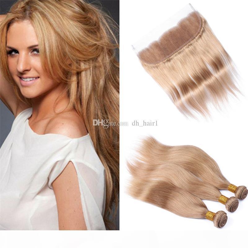 Honey Blonde Indian Virgin Bundles cheveux avec dentelle Frontal fermeture # 27 Strawberry Blonde droite Cheveux Tissages et 13x4 Lace Frontal