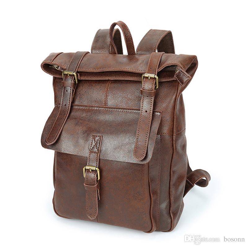 Хорошее качество натуральная кожа Рюкзак Mens путешествий рюкзака Марка Vintage Laptop Backpack конструктора школы Рюкзаки Бесплатная доставка