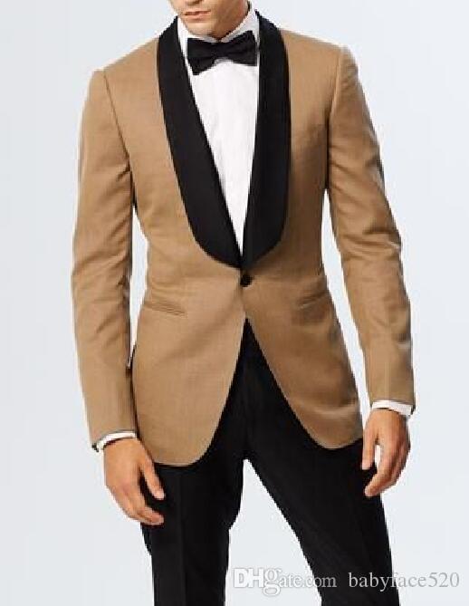 Hochzeits-Männer Klage für Groomsmen Tuxedo Schwarz Schal Revers Slim Fit Blazer Zweiteilige Jacke Schwarze Hosen späteste Art-Anzüge