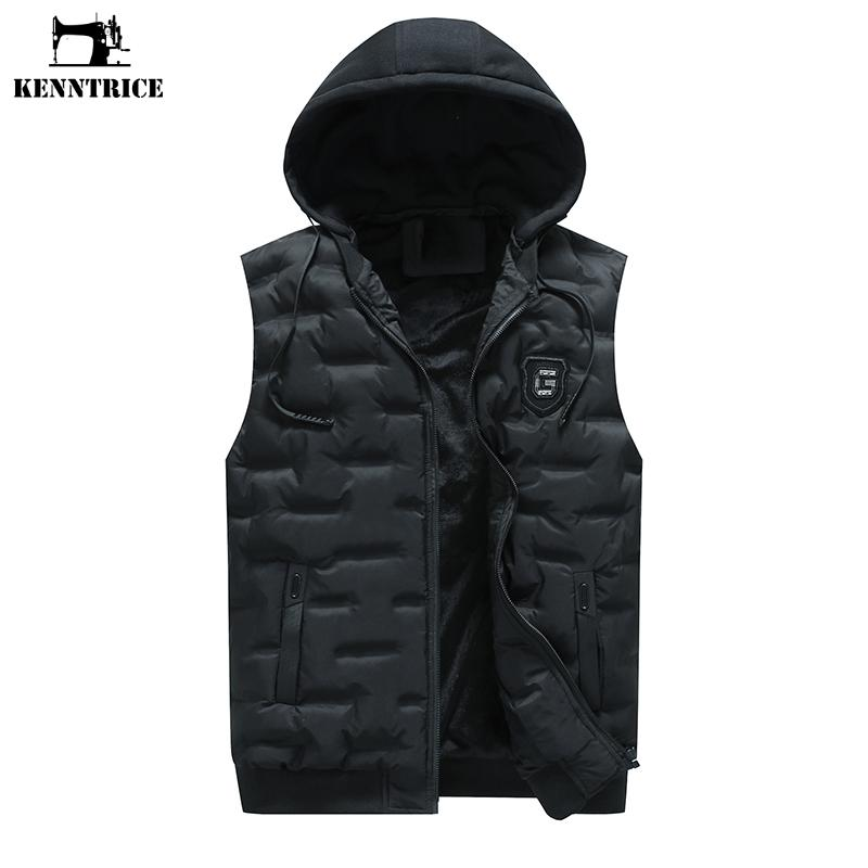Jacket KENNTRICE Vest Homens sem mangas Inverno Engrosse Colete sólido de cores quentes com capuz Outono masculino Gilet Homme