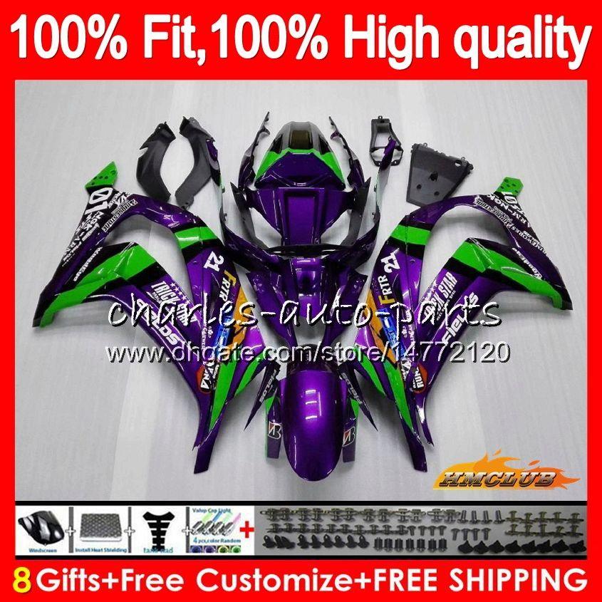 Injection For KAWASAKI ZX 10 R ZX1000 C ZX10R 11 12 13 14 15 46HC.22 ZX 10R 1000CC ZX-10R 2011 2012 2013 2014 2015 purple green OEM Fairing