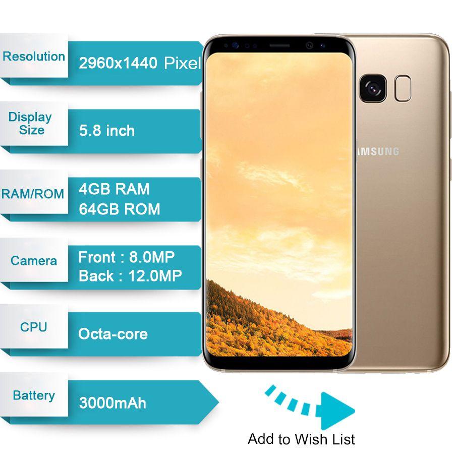 "Original Unlocked Samsung GALAXY S8 4G LTE Mobile Phones G950 5.8"" 4GB RAM 64GB ROM 2960x1440 12.0MP Android 7.0 Snapdragon 835"