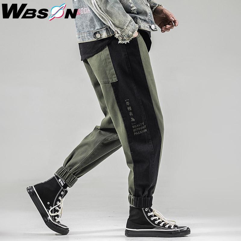 Wbson Casual Moda Brand Jeans Homens Carta chinesa Imprimir Harem Jeans Harajuku Hip do Denim Trousers Homens Masculino Hop SYG6608