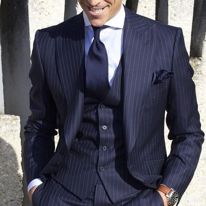 2020 Herren-Anzüge mit Hosen-Streifen-Blazer der Männer Slim Fit Hochzeit männlich Bräutigam Smoking Anzug Prom (Jacket + Pants + Vest) Kostüm Homme