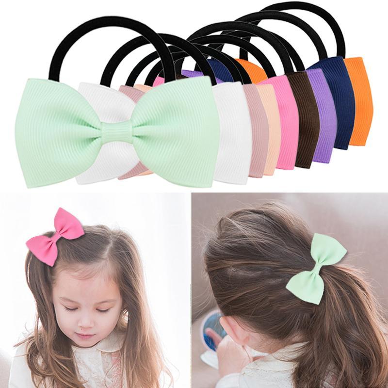 Multicolor bowknot colorato elastico bande di capelli ragazze nastro archi ragazze capelli cerchio tie corda accessori per capelli copricapo regalo di festa
