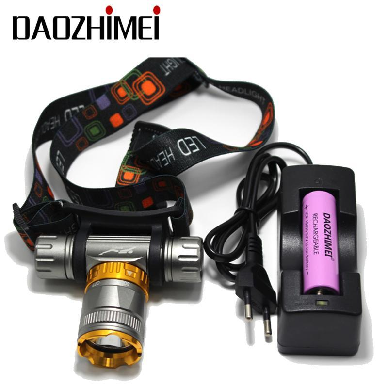 swimming 5800LM T6 Diving head lamp Waterproof Headlight Led Lighting led Headlamp light Torch + 18650 battery + AC / charger