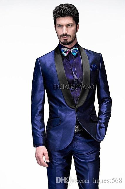 Groomsmen a un bottone economico e fine Scialle Risvolto Smoking dello sposo Abiti da uomo Matrimonio / Prom / Cena Best Man Blazer (Jacket + Pants + Tie) A536