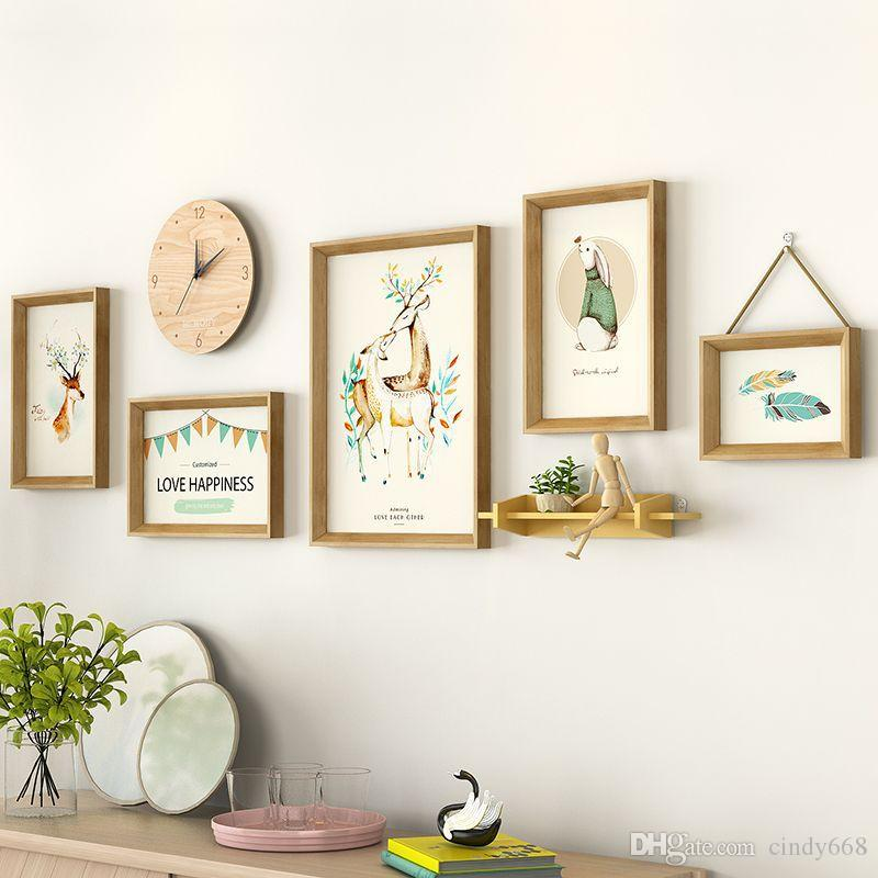 5 قطعة / المجموعة مع ساعة الحديثة styel إطار الصورة للوحات الكولاج إطار الصورة مجموعة ديكور المنزل الإطار مزيج ل ديكور الحائط