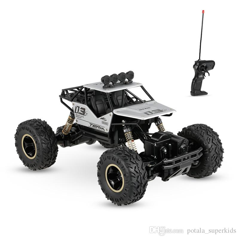 Alloy Four-Wheel Drive Rc Car Climbing Dirt Motor Buggy Radio Remote Control High Speed Racing Car Collectible Silver Black Model Toys