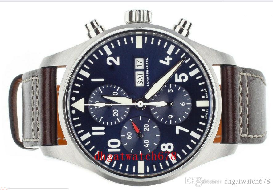 Neue Luxus-Herrenuhr Serie 377.714 kleinen Prinz Quarz Chronograph schwarze Lederband Art und Weise sport Militär Armbanduhr