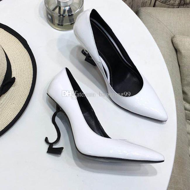 Women letters Heels Pumps Sandals 11CM High Heels White patent Leather Pointed Toes Round Woman's Dress Wedding Shoes 35-41 Free Shipping
