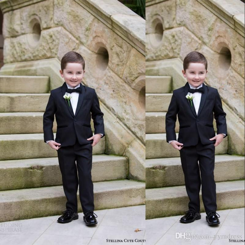 Black Boy Tuxedos 2019 Kid Suits for Formal Wedding Party One Buttons Shawl Lapel Ring Bearer Suits (Jacket+Pants+Bow)