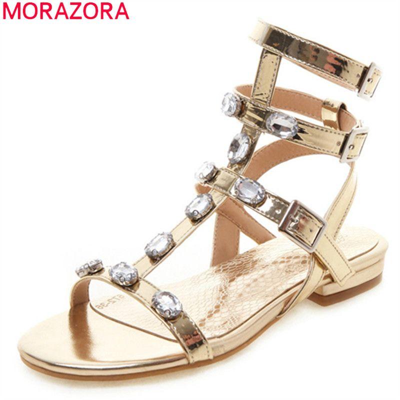 MORAZORA big size 33-46 summer fashion casual sandals comfortable flat heel round toe ladies shoes pu leather women sandals