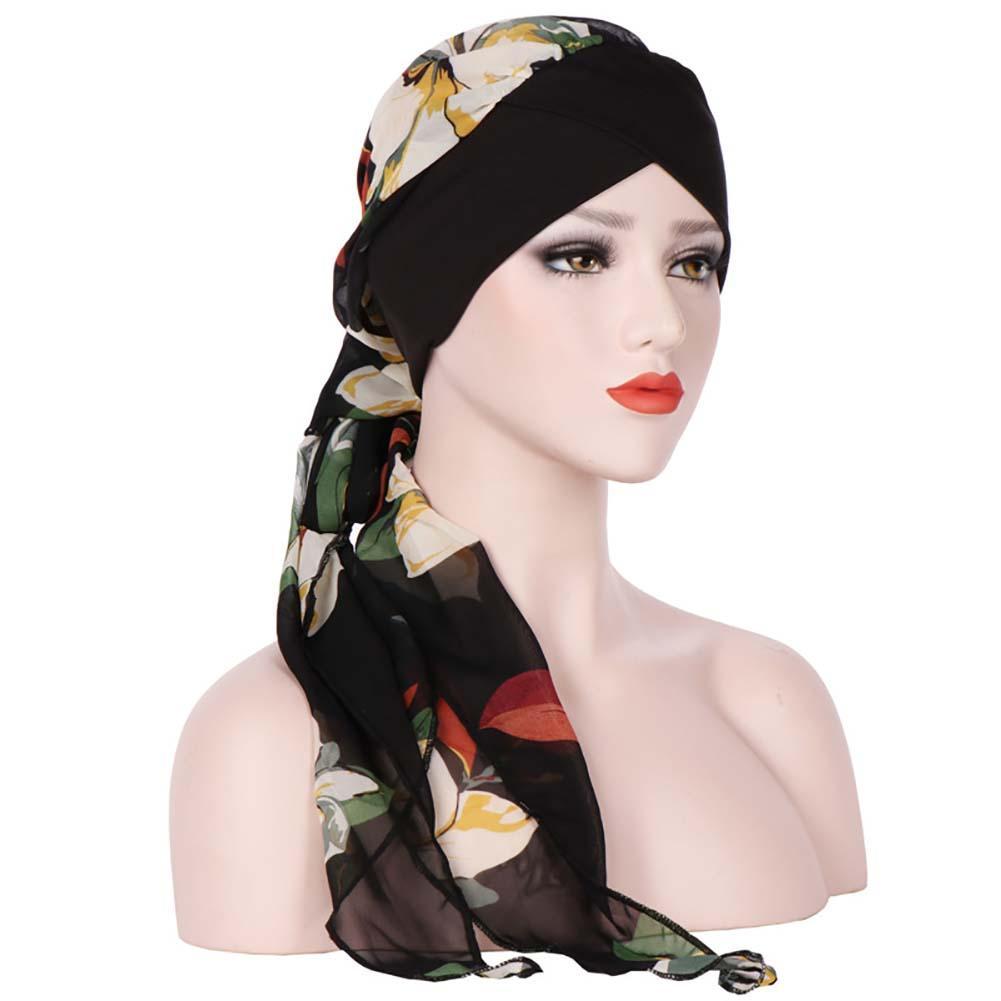 Мода-мода мусульманских женщины Тюрбан Hat Цветочная Printed длинного хвост Cap Headwrap модно