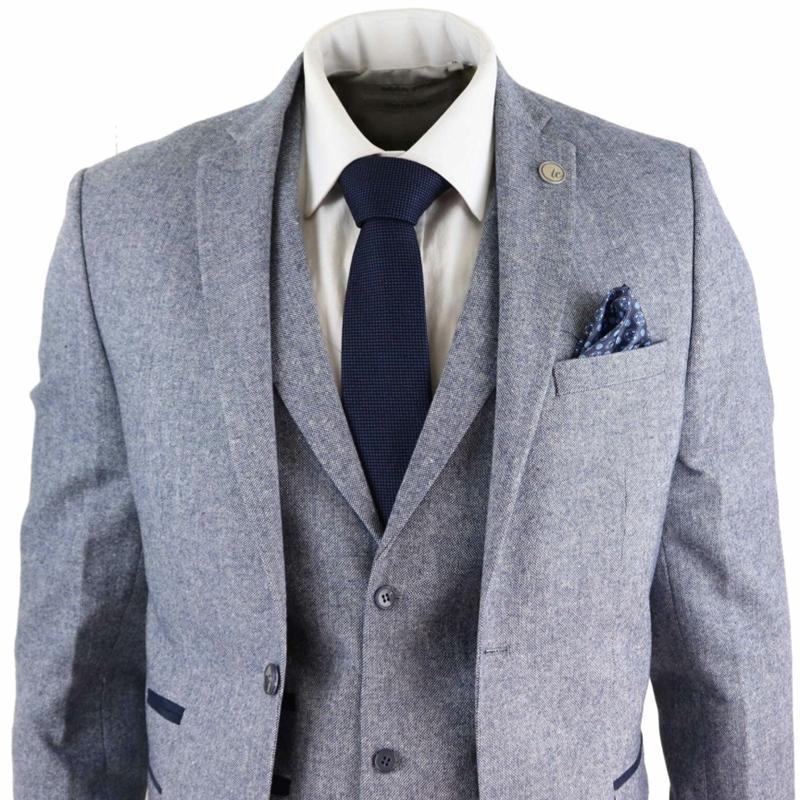 2020 nuevo Mens trajes de lana de 3 piezas de tweed gris azul de la marina de guerra de los hombres Juego adaptado Fit Peaky Anteojeras clásico Homme de vestuario