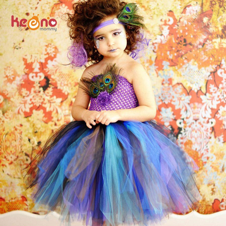 Keenomommy Princesse Filles Paon Plume Tutu Robe Photo Prop Halloween Costume Bébé Enfants Fête D'anniversaire robe TS131 Y200317