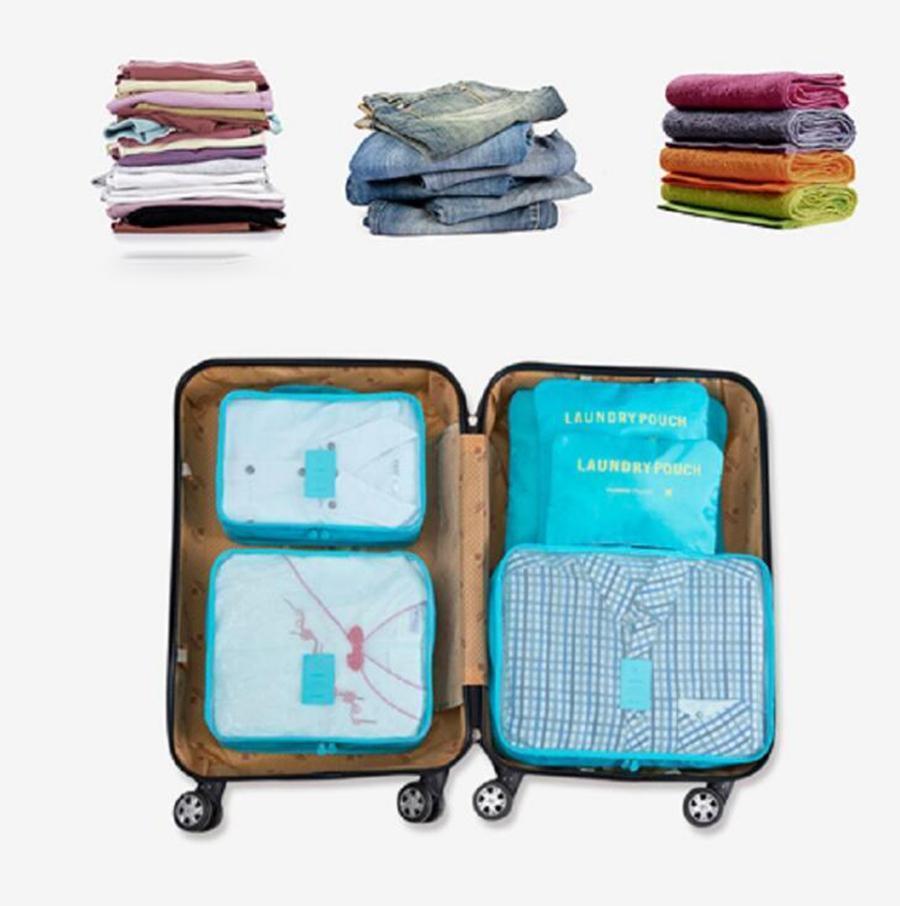 Voyage Organisateur Sac 6 pcs ensemble 8 Couleurs Vêtements Poche Portable Cas De Stockage Bagages Valise Sac OOA7469-1