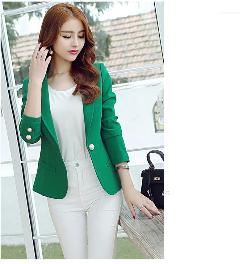 Chaqueta informal de manga larga botón Señora Blazers Moda primavera verano Mujeres delgado traje chaqueta de la capa femenina