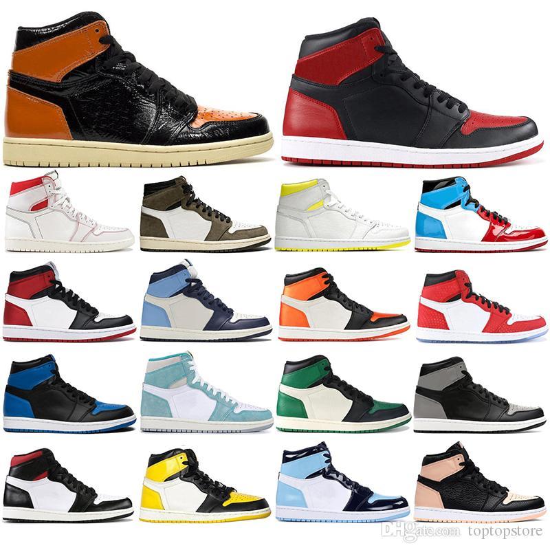 with free socks 2020 HOT Mens basketball shoes Gold toe 1s PHANTOM Fligh 1 Mocha UNC Backboard Royal sport sneaker trainer size 36-47