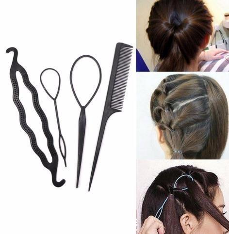4pcs / set plastique peigne goupille clips dount bun twist tresse fabricant bricolage outils de coiffage cheveux accessoires coiffures