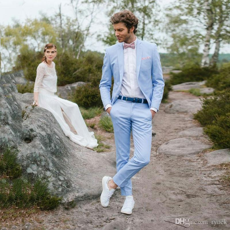Light Blue Mens Tuxedo Grooms Suits Wedding Suits for Men Prom Suits Latest Designs Terno Masculino Slim Fit Costume Homme Mariage 2Piece