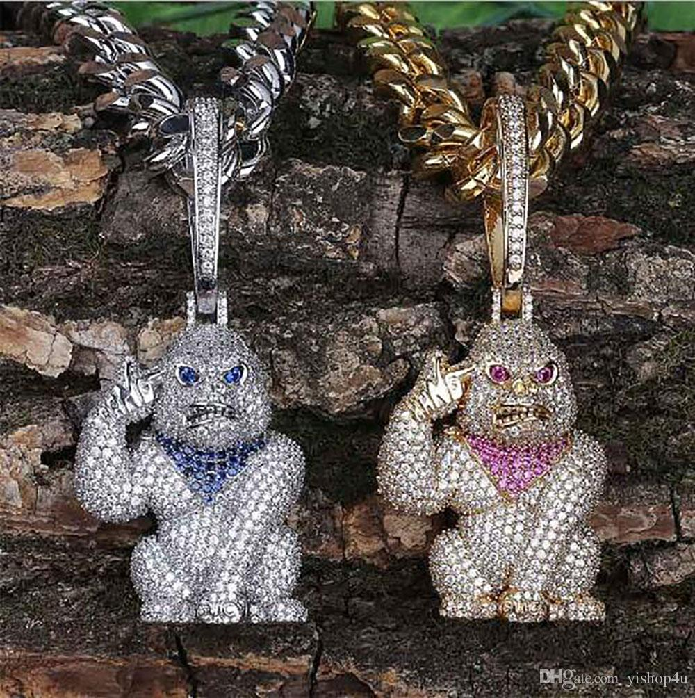 14K Iced Out Diamond Gorilla Ape Pendant Necklace with Big Locked Bling Micro Pave Cubic Zirconia Simulated Diamonds Only Pendant