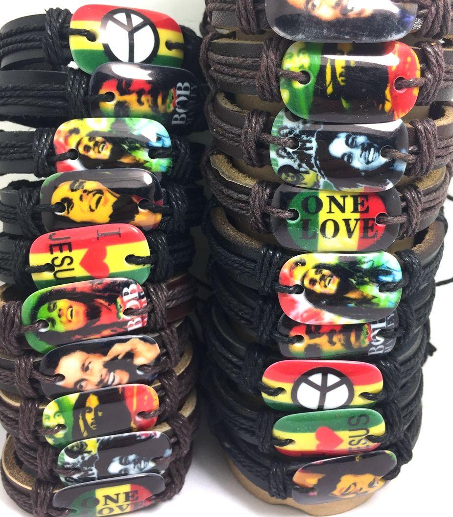 50pcs gros lot de Bob bracelets en cuir marley bracelets hommes mode bracelets paix feuille d'amour bijoux HOT