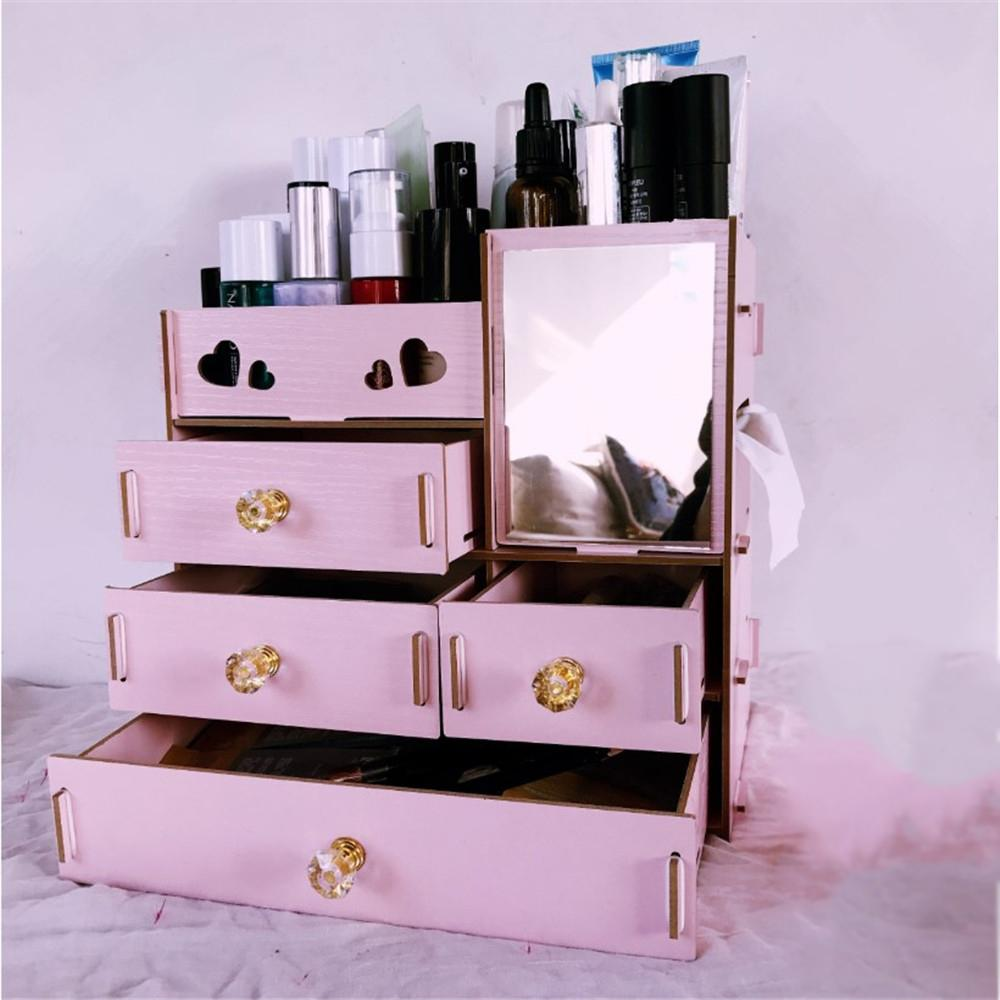 48 Large Wooden Makeup Organizer Desktop Drawer Cosmetic Storage Box With  Mirror Makeup Mirror For Girls Woman Flower Heart Shape From Qiangweiflo,