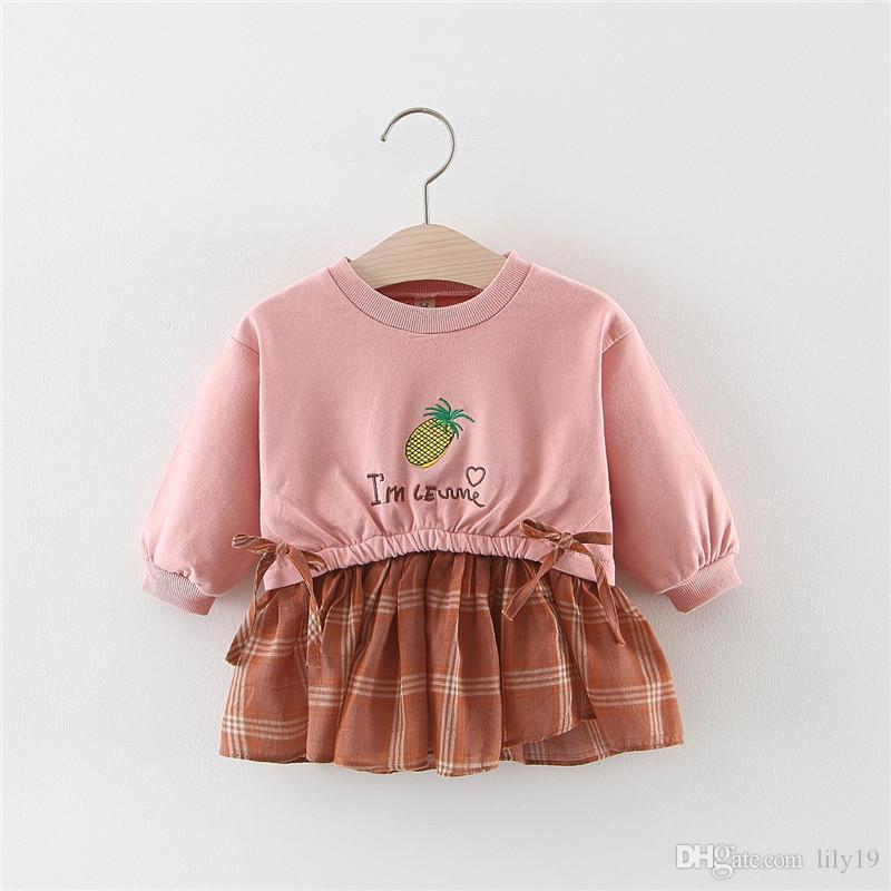 Mädchen mit langen Ärmeln Kleid 1-3 Jahre alten Baby Prinzessinkleid der neuen Kinder des Herbst Kleid 3 weiblicher Babyrock Frühling und Herbst