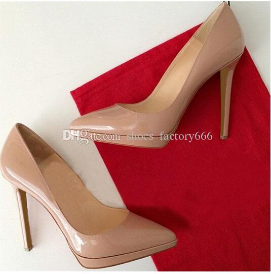Marque Femmes Escarpins Chaussures Femme Bas Rouge Talons Hauts Plateforme Escarpins Chaussures Pour Femmes Noir Talons Hauts 12 cm En Cuir PU Robe De Mariée Chaussures