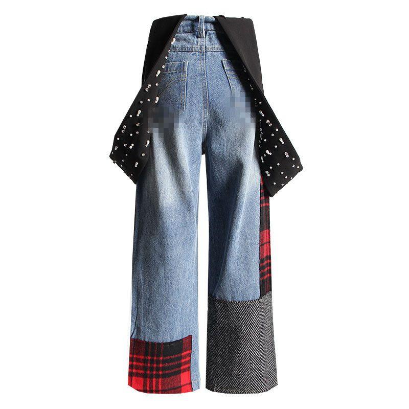 겨울 높은 허리 청바지 여성 구슬 진주 데님 바지 패치 워크 격자 무늬 느슨한 Laides 넓은 다리 청바지