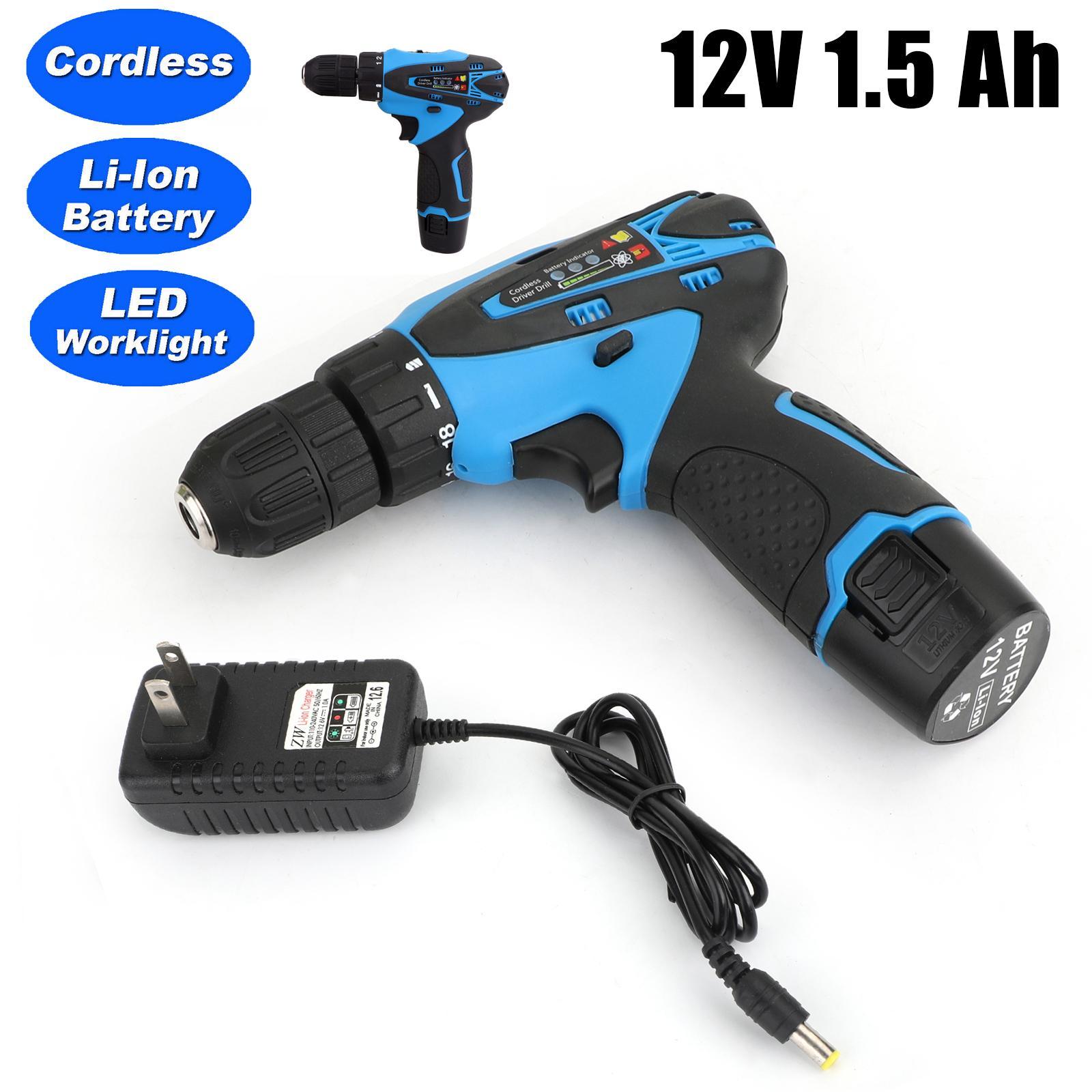 Areyourshop outil 12V 32N.m 2 vitesses électrique au lithium-ion rechargeable perceuse sans fil Mini Drill US Car Auto Parts