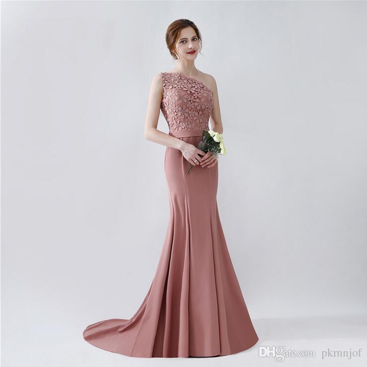 Compre 2019 Elegante Un Hombro Sirena Vestidos Largos De Noche Apliques Sin Espalda Barrido Tren Vestidos Formales De Noche Vestidos De Fiesta A