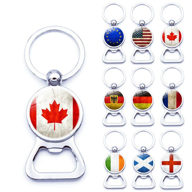 Venta caliente Canadá Estados Unidos Tiempo Escocia Bandera KeyChains multifunción Metal Vidrio de cerveza abridor Llaveros Accesorios de regalos